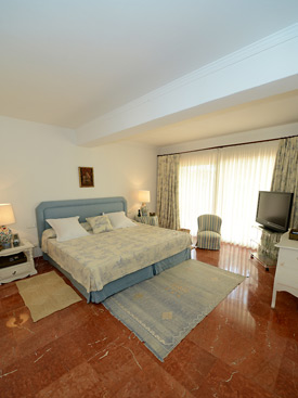 The master bedroom enjoys sea views at La Calma