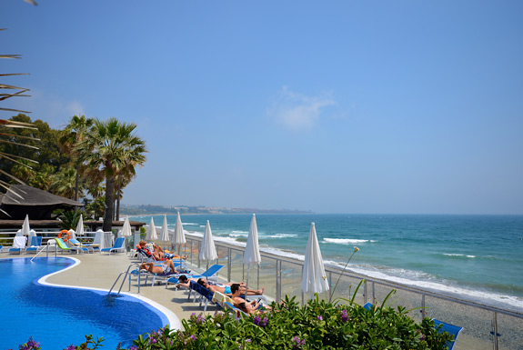 The pool overlooks the Mediterranean at Dominion Beach