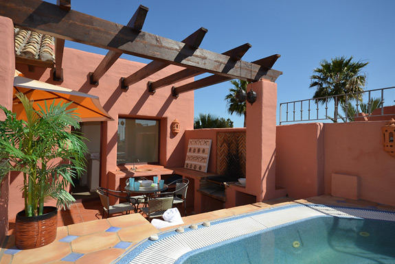 Relax in your private Jacuzzi on your terrace at Menara Beach, Estepona