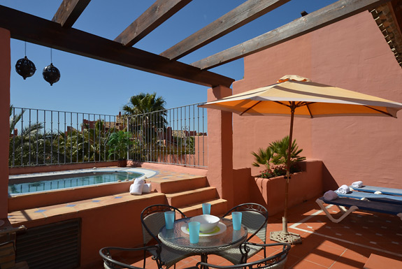 Relax in the Jacuzzi on your terrace at Menara Beach, Estepona