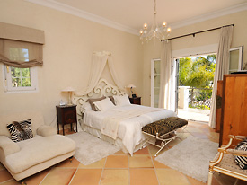 The spacious master bedroom has a private terrace at Villa Miren, Marbella